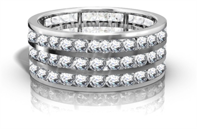 Triple Row Round Diamond Eternity Ring DHRZ0173 Image