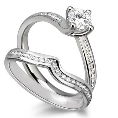 Round Diamond Shoulder Set Ring With Matching Band DHDOMDSR15DSWR15 Image