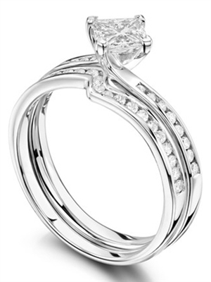 Princess Diamond Shoulder Set Ring With Matching Band DHRX3288W Image