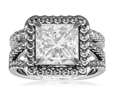 Diamond Shoulder Set Ring With Matching Band DHRZ1615W Image