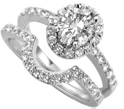 Oval Shoulder Set Ring With Matching Band DHDOMDSC3DSWC3 Image