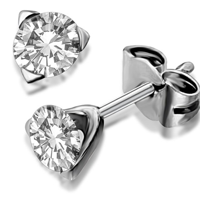 Unique Three Prong Round Diamond Stud Earrings DHDOMERC Image