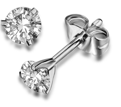 3 Claw Round Diamond Stud Earrings DHDOMF102E Image