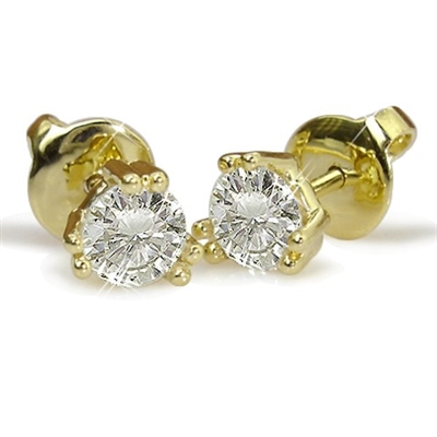 Shared Claw Round Diamond Stud Earrings ET069 Image