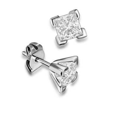 Four Corner Prong Princess Diamond Stud Earrings DHDOMEXH Image