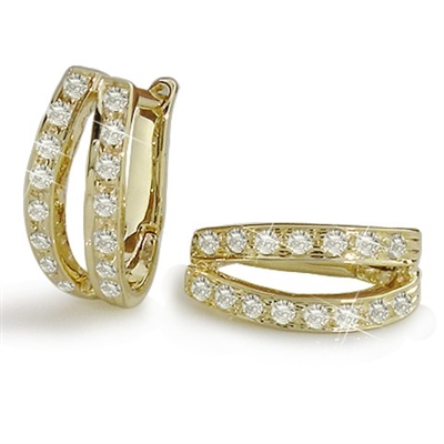 Two Line Round Diamond Hoop Earrings ET002 Image