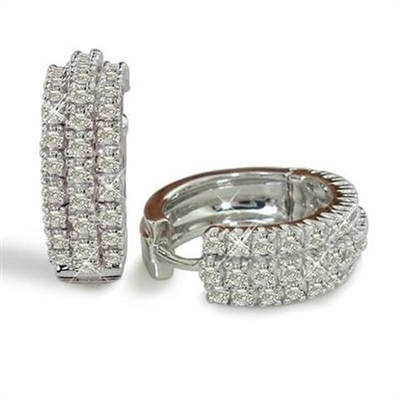 Triple Row Round Diamond Hoop Earrings ET031 Image