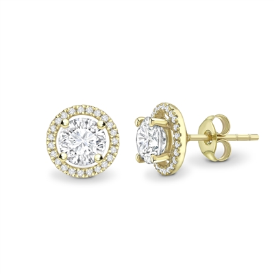 Round Diamond Single Halo Earrings DHEX3127 Image