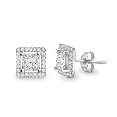 Princess Diamond Single Halo Earrings DHEX2887 Image