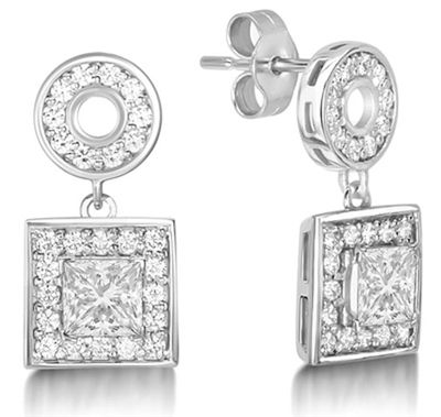 Princess Diamond Single Halo Earrings DHMTER082 Image
