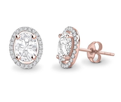 Oval Diamond Single Halo Earrings DHEX3967 Image