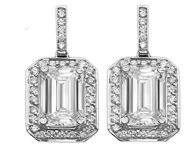Emerald Diamond Single Halo Earrings DHET5691 Image