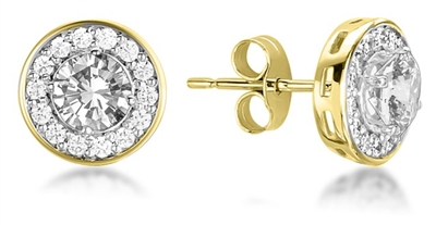 Round Diamond Single Halo Earrings DHMTER078 Image