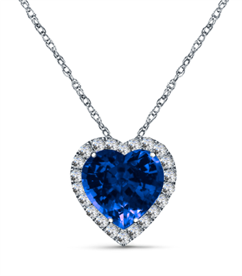 Heart Shaped Blue Sapphire & Diamond Pendant DHAN607BS Image