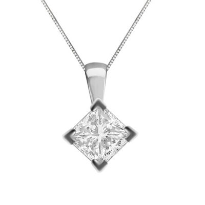 Unique Princess Diamond Solitaire Pendant DHDOMPD245 Image