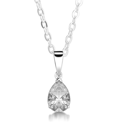 3 Claw Solitaire Pear Diamond Pendant DHMTP195 Image