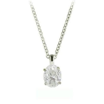 Classic Oval Diamond Solitaire Pendant DHSPE5010 Image