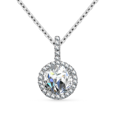 Round Diamond Single Halo Pendant DHAN527 Image