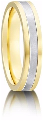 4mm Two Tone Flat Court Shape Wedding Ring DHP005 Image