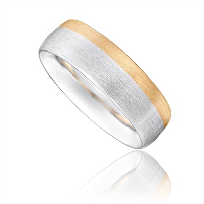 6mm Two Tone Court Shape Wedding Ring DHP053 Image