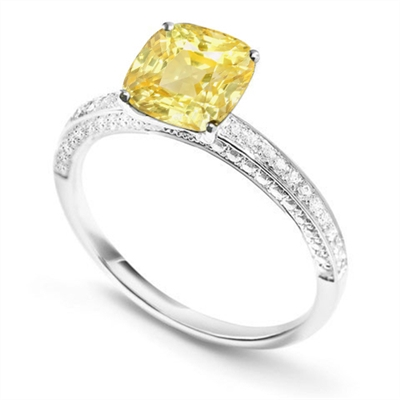 Fancy Yellow Cushion Diamond Vintage Shoulder Set Ring DHDOMDSX7YD Image