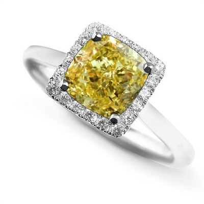 Fancy Yellow Cushion Diamond Cluster Ring DHDOMDSX8YD Image
