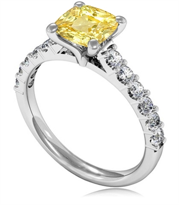 Fancy Yellow Cushion Diamond Shoulder Set Ring DHMTSS960YD Image
