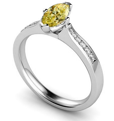 Fancy Yellow Marquise Diamond Shoulder Set Ring DHMTSS920YD Image