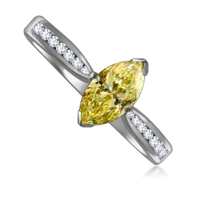 Fancy Yellow Marquise Diamond Shoulder Set Ring DHRX3974YD Image