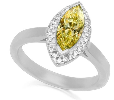Fancy Yellow Marquise Diamond Halo Cluster Ring DHT5181YD Image