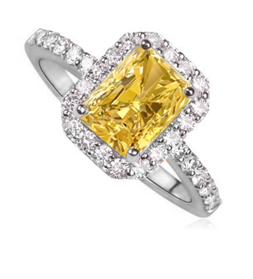 Fancy Yellow Radiant Diamond Halo Shoulder Set Ring DHDOMDSC4RAYD Image
