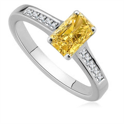 Fancy Yellow Radiant Diamond Shoulder Set Ring DHDOMDSE31RAYD Image