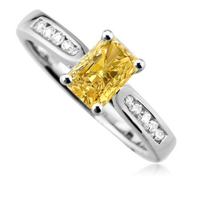 Fancy Yellow Radiant Diamond Shoulder Set Ring DHDOMDSE4RAYD Image