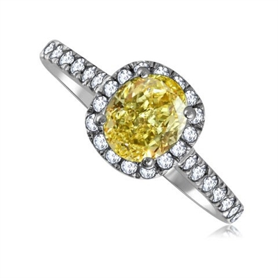 Fancy Yellow Oval Diamond Shoulder Set Ring DHRX4333OVYD Image