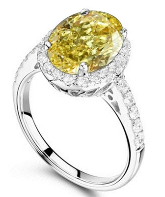 Fancy Yellow Oval Diamond Halo Shoulder Set Ring DHRX2741OVYD Image
