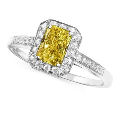 Fancy Yellow Radiant Diamond Halo Shoulder Set Ring DHDOMDSE5RAYD Image