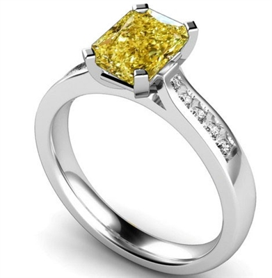 Fancy Yellow Radiant Diamond Shoulder Set Ring DHMTSS909RAYD Image