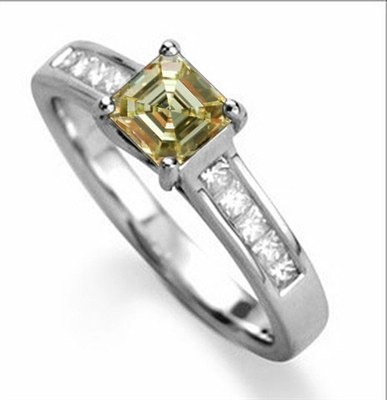 Fancy Yellow Asscher Cut Diamond Shoulder Set Ring DHDOMDSX1ASYD Image