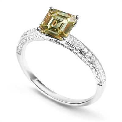 Fancy Yellow Asscher Cut Diamond Shoulder Set Ring DHDOMDSX7ASYD Image