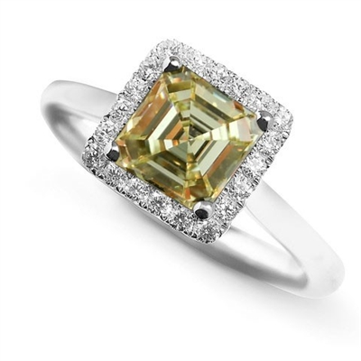Fancy Yellow Asscher Cut Diamond Cluster Ring DHDOMDSX8ASYD Image