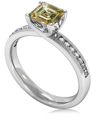 Fancy Yellow Asscher Cut Diamond Shoulder Set Ring DHMTSS954ASYD Image