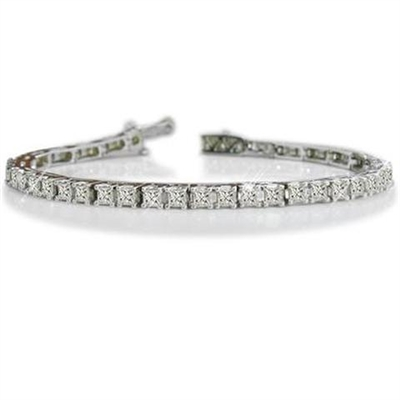 Single Row Princess Diamond Tennis Bracelet EB022 Image