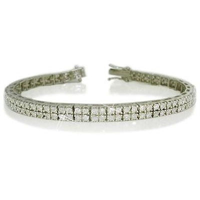 Double Row Round Diamond Tennis Bracelet EB009 Image