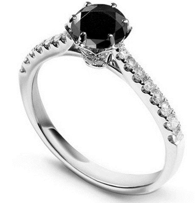 Round Black Diamond Shoulder Set Ring DHDOMDSR27BLKA Image