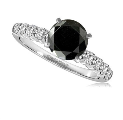 Round Black Diamond Shoulder Set Ring DHRZ0817BLKA Image