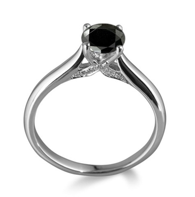 Round Black Diamond Solitaire Ring DHDOMR11047BLK Image