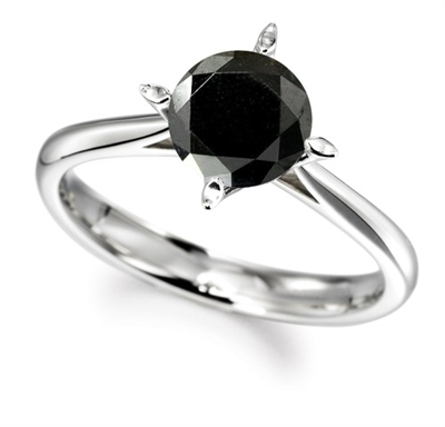 Round Black Diamond Solitaire Ring DHDOMR1322BLK Image