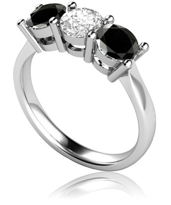 Round Black And White Diamond Trilogy Ring DHMT03328BLK2 Image