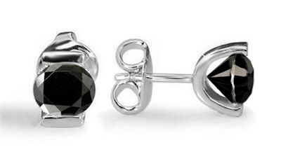 Round Black Diamond Earrings ET024BLK Image