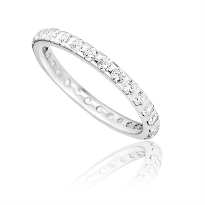 Full Set 2mm Round Diamond Wedding Ring DHD043 Image
